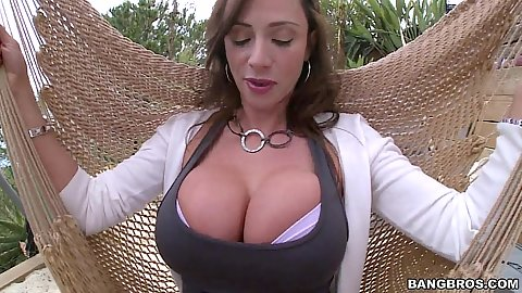 Tits bonanza with milf Ariella Ferrera outdoors slowly stripping