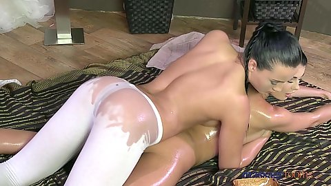 Anna Rose and Lucy covered in oil yoga pants lesbian private massage scene