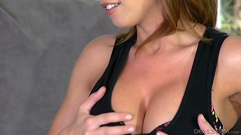 Class redhead milf Britney Amber showing off her cleavage and a titty fuck