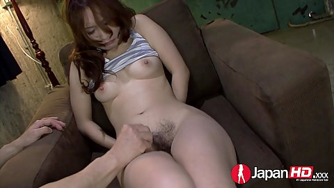 Groping and stretching hairy asian Kazumi Nanase with leaking pussy juices
