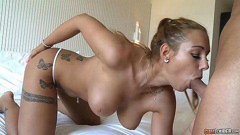 Big juggs Kyra Hot giving oral sex