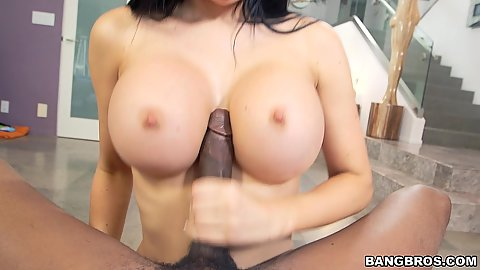 Huge tits pov latina Jasmine Jae big dick jerking and sucking