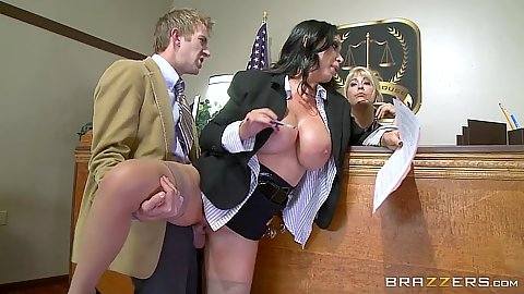 Standing fuck in courthouse with half dressed babe Nikki Benz