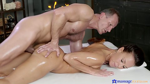 Oil massage with excited milf Alicia Wild receiving pounding