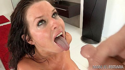 Opening wide and receiving cumshot and facial compilation