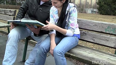 Slender 18 year old teen wearing tight jeans outdoors