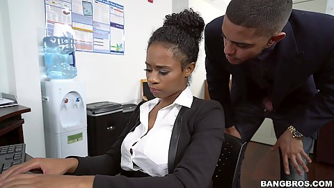 Naughty office secretary Ivy Young gets touched by coworker