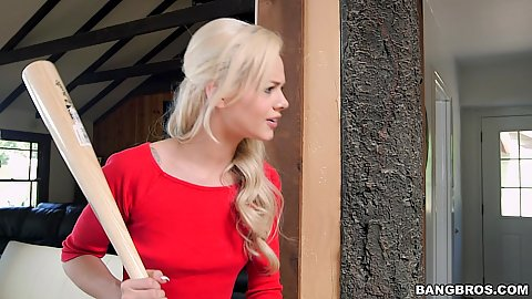 Blonde teen Elsa Jean catches burglar with baseball bat and gives cfnm head