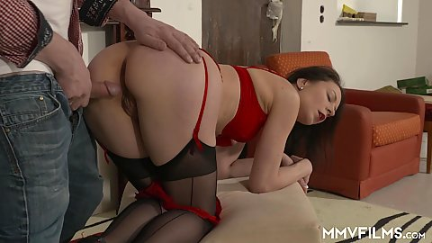 Doggy style pussy and anal proving with milf Valeria Jones in stockings