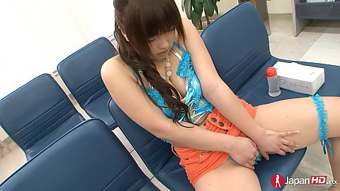 Cute asian girl Ayumu Sena with tight miniskirt gets into her pussy