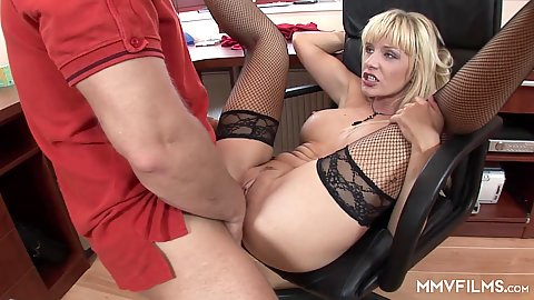 Office chair plowing big chested blonde milf Natalli Di Angelo