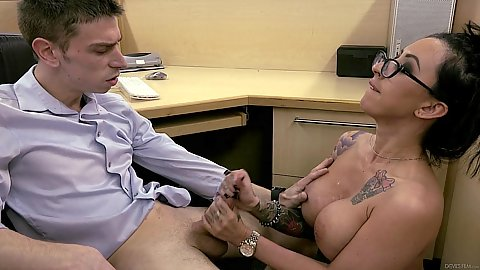 Cubicle office sex with busty latina milf in glasses Lily Lane