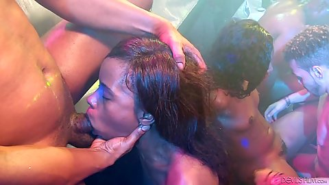Deep throat and pussy ramming during party orgy with Chanell Heart and Misty Stone and Jezabel Vessir