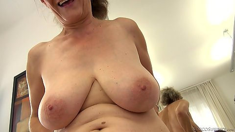 Busty granny with sexy tits eat out younger girl Tricia Teen and Elisa A
