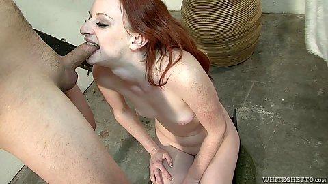 Biting dick with her sharp teeth in punishing redhead Audrey Lords