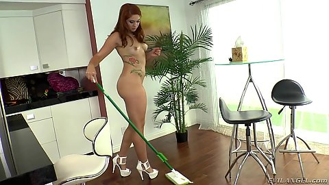 Naked redhead Rose Red doing some cleaning and oral in pov