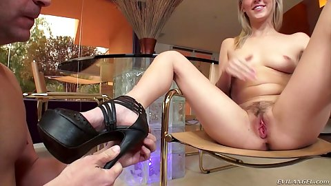 Nice legs and a hairy snatch on high heels Cadence Lux