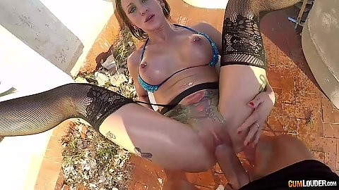 Frontal pussy ramming with oiled whore Betty Foxxx on rooftop