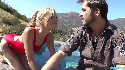 Indulging blonde Nicole Ray sucks a dick by the pool