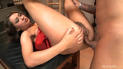 Hairy girl Savannah Secret puts legs up for deep anal entry