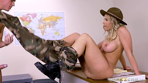 Uniform milf losing her pants in the office army fuck Olivia Austin