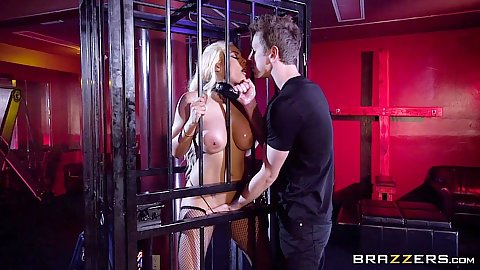 Caged up slave with bubble butt Luna Star gets oiled and wet