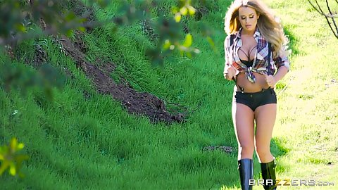 Corinna Blake running around the outdoors and sucking own finger