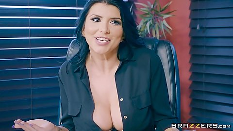 Office with busty Romi Rain doing an audit