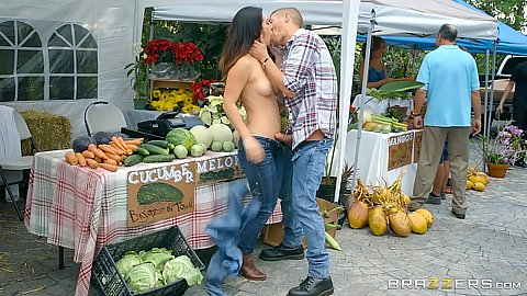 Eva Lovia gets topless and makes out at the market outdoors