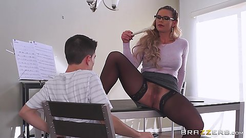 Milf music teacher Phoenix Marie going commando and seducing younger male student