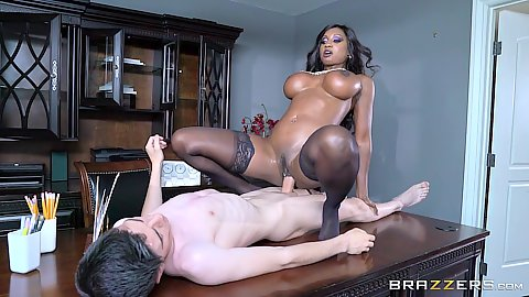 Table black girl white cock sex with big chested Diamond Jackson