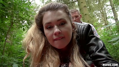 Fucked in the park bushes with outdoor half dressed chick Misha Cross
