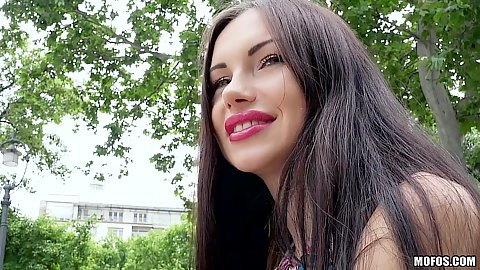 Public pick up of Russian brunette Sasha Rose