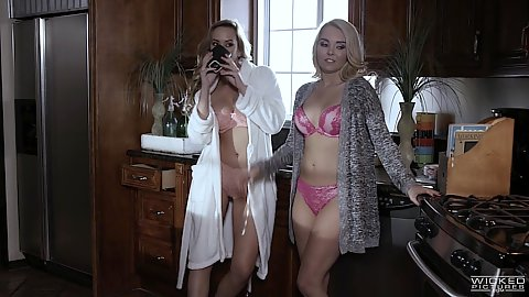 Astounding AJ Applegate and AJ Applegate wearing robes over bras and panties
