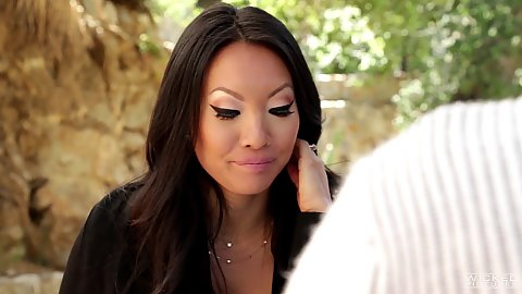 Asa Akira fully clothed milf having a chat in softcore