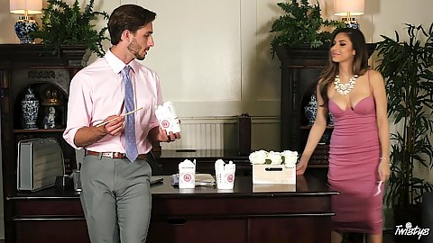 Office romance with fully clothed latina Nina North ordering take out