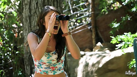 Snappy Adria Rae spying on some cock in the woods