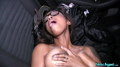 Tantalizing Ebony Business woman Lola strikes cock deal in the backseat