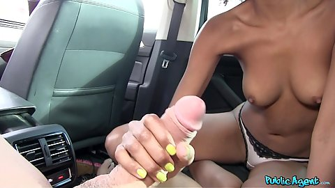 Backseat car oral sex with black girl Luna Corazon and white cock in pov