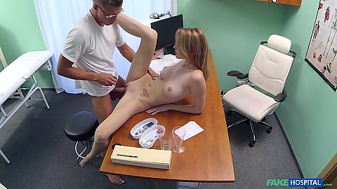 Great young body girl czech Bell Claire lays naked on doctors desk