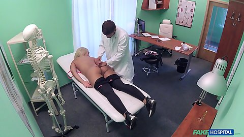 Nice juicy Russian booty Briana Bounce touched by doctor