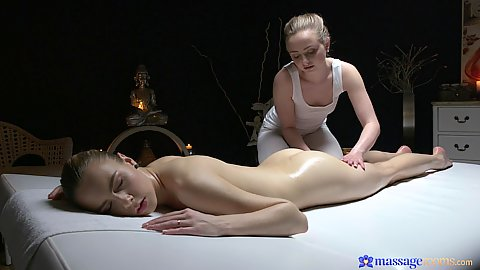 Slim girls do foot massage with oil and some ass Lady Bug and Alecia Fox