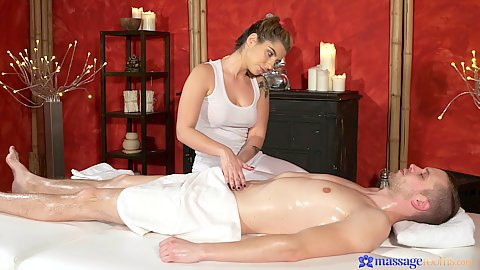 Nice oil massage with handjob from little spunky Amy Red