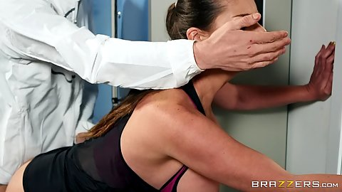 Bent over standing fuck from euro Cathy Heaven and her coach in locker room