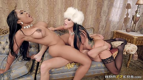 White cock with two big ass ladies sex in auction cock Moriah Mills and Romi Rain