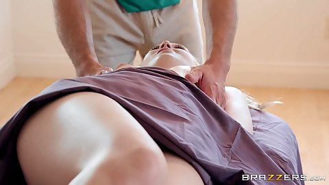 Sensual massage with Lily Rader receiving tickling and cock in mouth