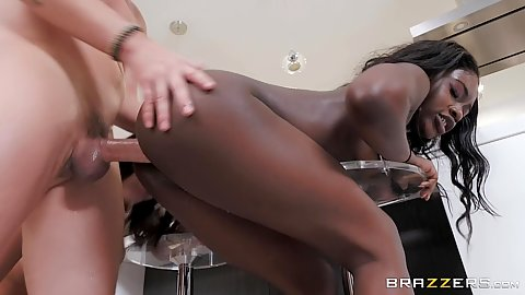 Fucked over a stool from behind in white cock and black girl with latina stepmom Missy Martinez and Noemie Bilas
