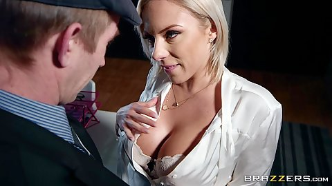 Naive and very eager to see a huge dick Lilli Vanilli gets on her knees