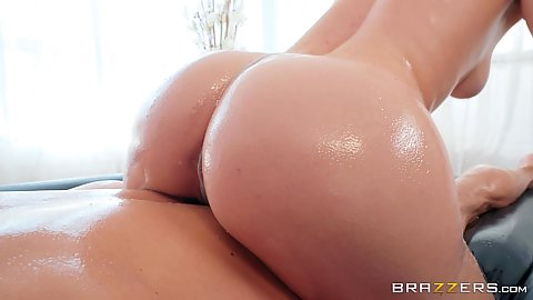 Oiled and slipper butt during dirty massage with handjob jerking Ella Nova