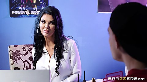 Beauty Jasmine Jae in the office starts to grind with her ass in miniskirt and suck cock